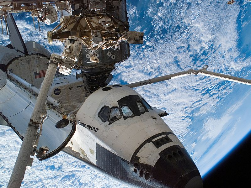 Space Shuttle Endeavour docked at the ISS -  Image courtesy of NASA